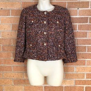 Ann Taylor Loft Tweed Jacket size 4 orange